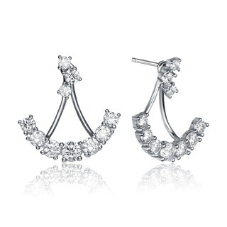 Collette Z Sterling Silver Cubic Zirconia Anchor Jacket Earrings - White