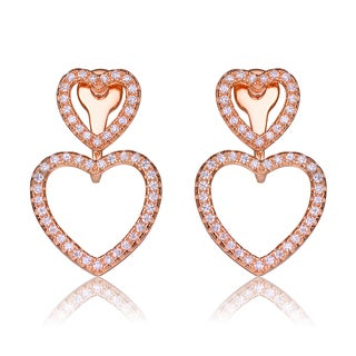 Collette Z Sterling Silver Cubic Zirconia Open Heart Jacket Earrings