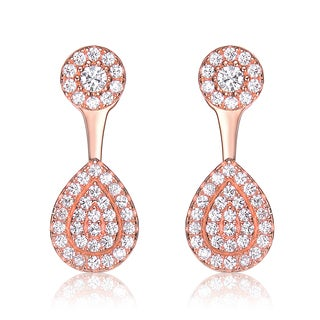 Collette Z Sterling Silver Cubic Zirconia Circle and Pear Jacket Earrings