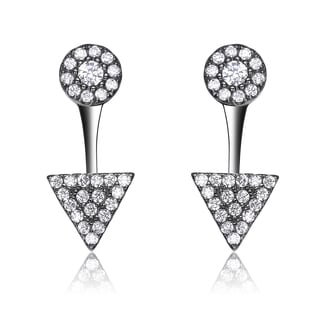 Collette Z Sterling Silver Cubic Zirconia Circle and Triangle Jacket Earrings