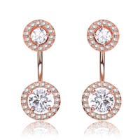 Collette Z Rose Gold Overlay Clear Cubic Zirconia Circular Ear Jacket Earrings