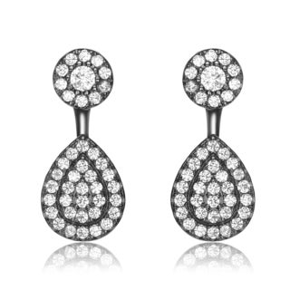Collette Z Sterling Silver Cubic Zirconia Circle and Pear Jacket Earrings - White