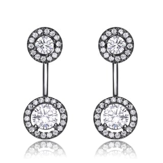 Collette Z Black Overlay Clear Cubic Zirconia Circular Ear Jacket Earrings
