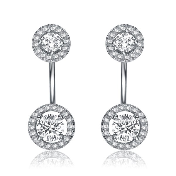 Collette Z Rhodium Overlay Clear Cubic Zirconia Circular Ear Jacket Earrings - White