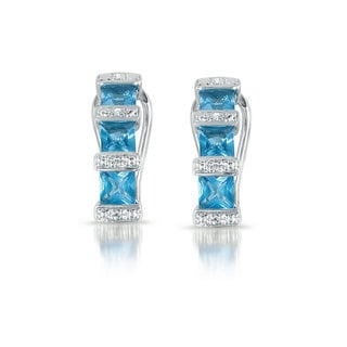Collette Z Sterling Silver Blue and Clear Cubic Zirconia Ocean Earrings