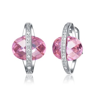 Collette Z Sterling Silver Pink and Clear Cubic Zirconia Planet Earrings