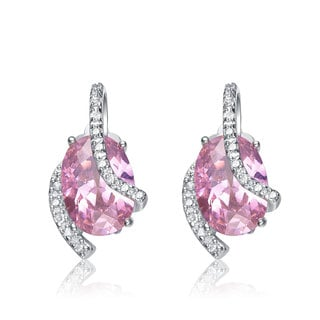 Collette Z Sterling Silver Clear and Pink Cubic Zirconia Stud Earrings