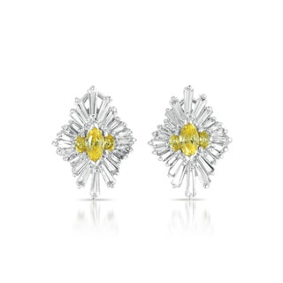 Collette Z Sterling Silver Yellow and Clear Cubic Zirconia Burst Earrings
