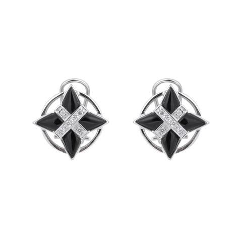 Collette Z Sterling Silver Cubic Zirconia X Marks the Spot Earrings - Black