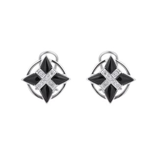 Collette Z Sterling Silver Cubic Zirconia X Marks the Spot Earrings