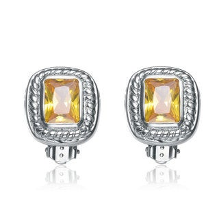 Collette Z Brass Yellow Cubic Zirconia Button Earrings