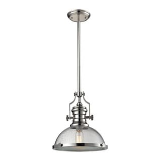 Elk Chadwick Polished Nickel and Seeded Glass 1-light Pendant