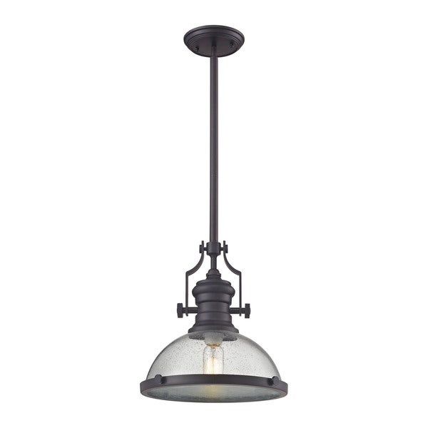 Elk Chadwick Oil Rubbed Bronze And Seeded Gl 1 Light Pendant