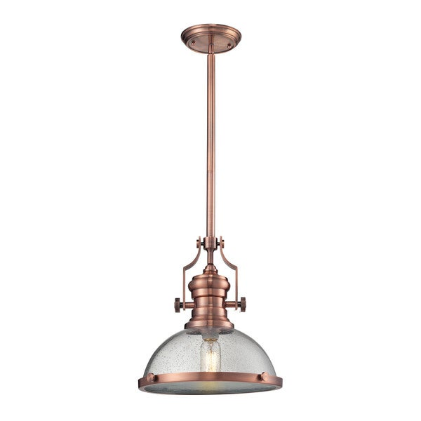 Rocamar Copper And Glass Single Pendant: Shop Elk Chadwick Antique Copper And Seeded Glass 1-light
