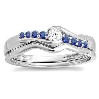 Elora 10k White Gold 1/4ct TDW Round Blue Sapphire and White Diamond Bridal Engagement Wedding Ring Set (I