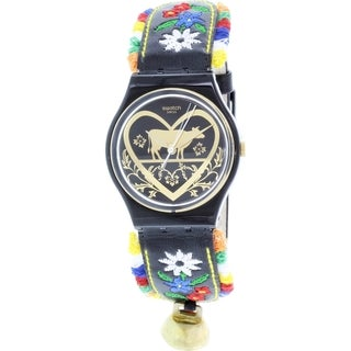 Swatch Women's Black Leather Originals GB285 Swiss Quartz Watch