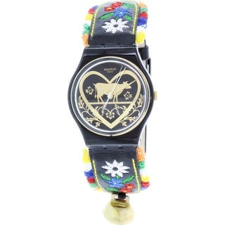 Swatch Women's Black Leather Originals GB285 Swiss Quartz Watch|https://ak1.ostkcdn.com/images/products/11405874/P18370996.jpg?impolicy=medium
