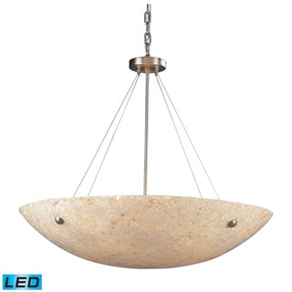 Elk Stony Satin Nickel and Pearl Stone Glass 8-light LED Pendant
