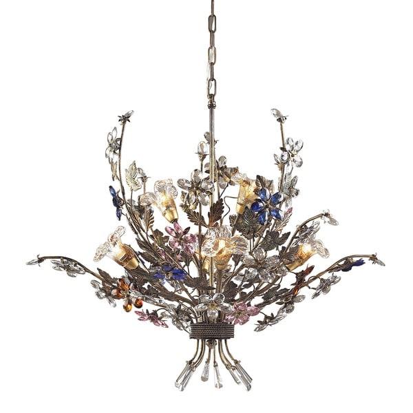 Elk Brillare Multicolored Crystal Florets 6 Light Chandelier
