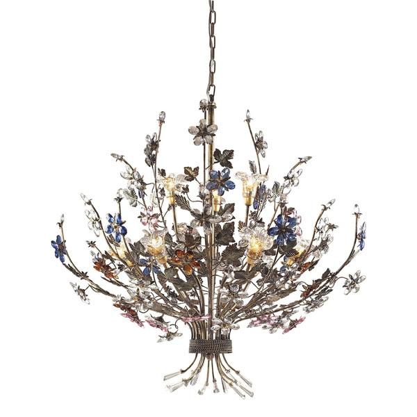 Elk Brillare Multicolored Crystal Florets 9 Light Chandelier