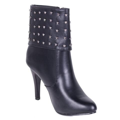 Womens Studded Cuff Fashion Boots