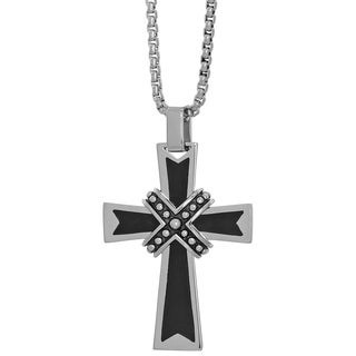 Stainless Steel Cross Pendant Necklace with Black Ip Plating