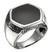 Stainless Steel Ring with Black Resin Center