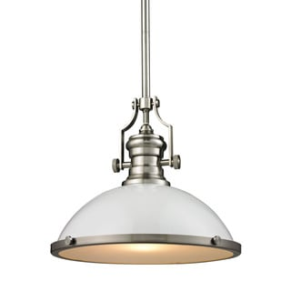Elk Chadwick Gloss White and Satin Nickel 1-light Pendant