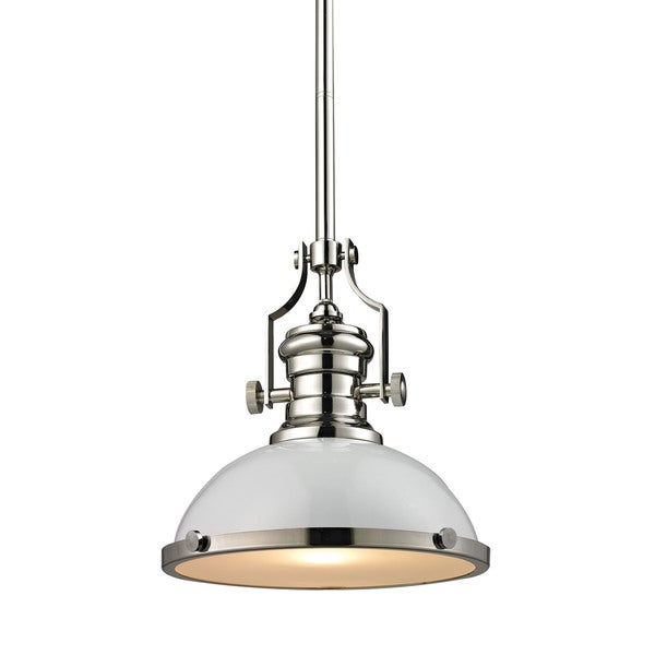 Elk Lighting Chadwick Pendant: Shop Elk Chadwick Gloss White And Polished Nickel 1-light