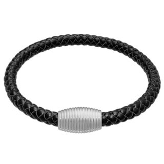 Black Leather Bracelet with Stainless Steel Magnetic Clasp