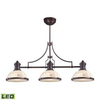 Elk Chadwick Oiled Bronze and Cappa Shells 3-light LED Billiard Light
