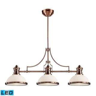 Elk Chadwick Antique Copper and White Glass 3-light LED Billiard