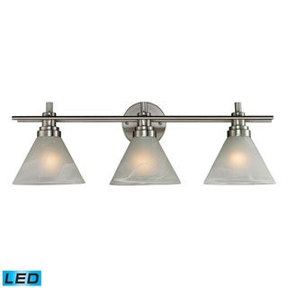 Elk Pemberton Brushed Nickel and Marbleized White Glass 3-light LED Vanity
