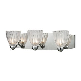 Elk Lindale Polished Chrome and Scalloped Glass 3-light Vanity