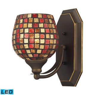 Elk Bath Aged Bronze and Multi Fusion Glass 1-light LED Vanity