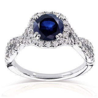 Annello by Kobelli 14k White Gold Sapphire and 1/2ct TDW Black and White Diamond Ring (G-
