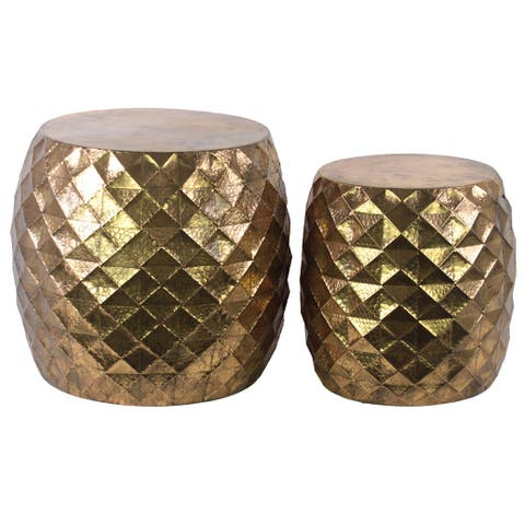 Metal Round Table with Embossed Lattice Design Set of Two Metallic Finish Gold