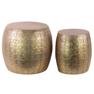Metal Round Table with Embossed Floral Design Set of Two Metallic Finish Gold Foil