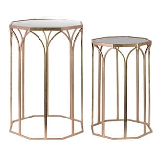 Metal Octagonal Nesting Accent Table with Mirror Top and Octagonal Bottom Set of Two Metallic Finish Copper