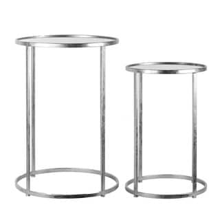 Metal Round Nesting Accent Table with Mirror Top and Round Base Set of Two Tarnished Finish Silver