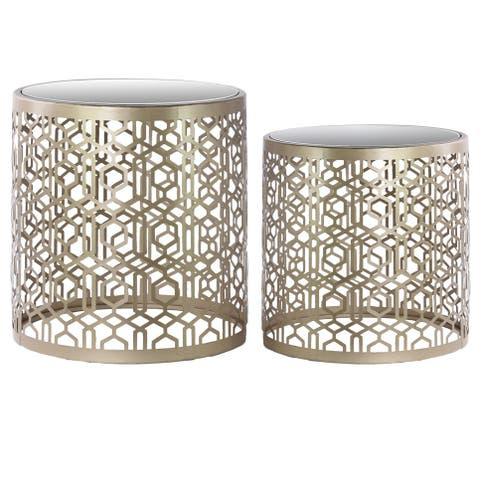 Metal Round Nesting Accent Table with Mirror Top, Polygonal Design and Round Base Set of Two Metallic Finish Champagne