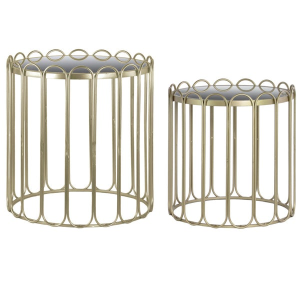 Metal Round Nesting Accent Table with Mirror Top, Linear Design and Round Base Set of Two Metallic Finish Champagne