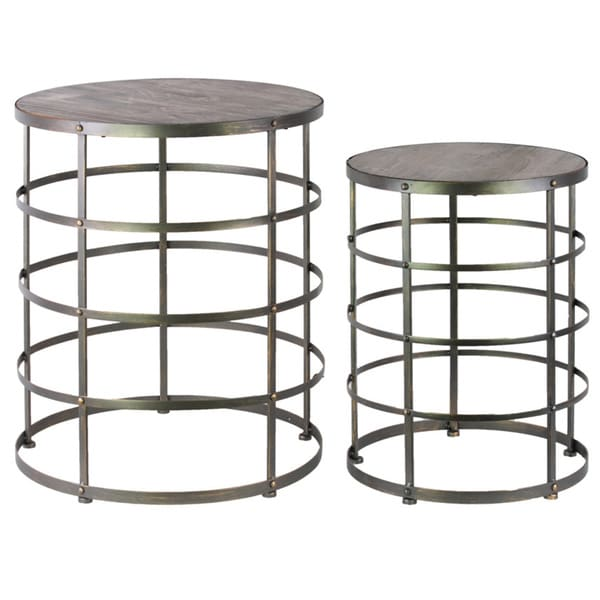 Metal round nesting accent table with wooden top