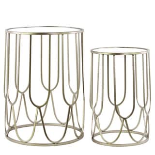Metal Round Nesting Accent Table with Mirror Top and Round Base Set of Two Metallic FInish Silver