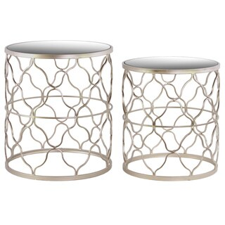 Metal Round Nesting Table with Mirror Top, Quatrefoil Lattice Design and Round Base Set of Two Metallic Finish Champagne