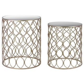 Metal Round Nesting Table with Mirror Top Circle Lattice Design and Round Base Set of Two Metallic Finish Champagne