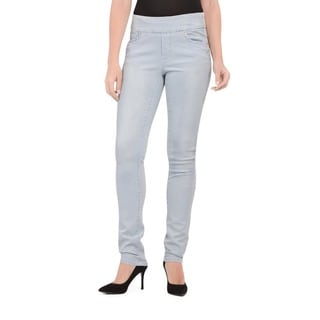 Bluberry Women's White wash Stripe Slim Leg Denim