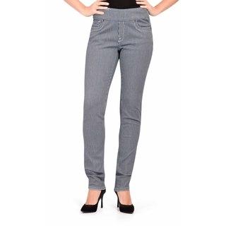 Bluberry Women's Plus Size Slim Leg Stripe Denim Pants
