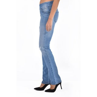 Bluberry Women's Plus Size Straight Leg Medium Wash Denim