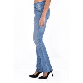 Bluberry Women's Plus Size Straight Leg Medium Wash Denim